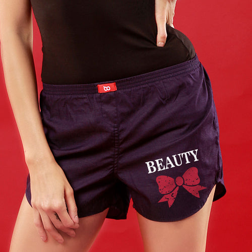 Beauty And Her Beast Matching Purple Couple Boxers