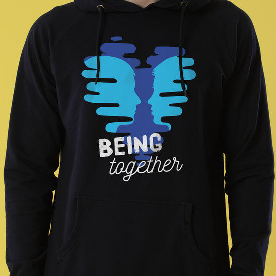 Being Together, Matching Black Hoodies Set For Couples