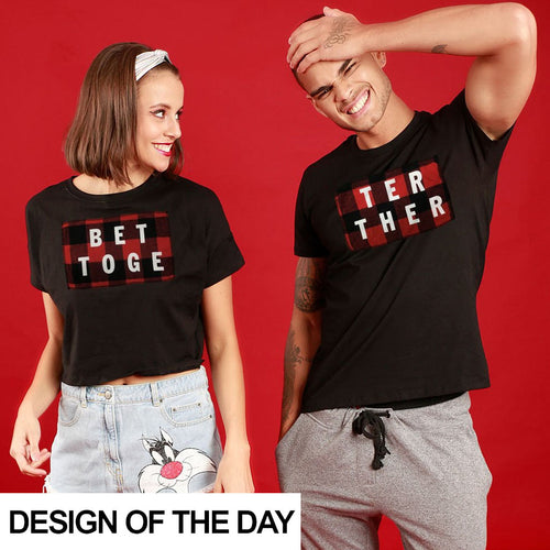 Better Together Red Plaid, Matching Couple Crop Top And Tee