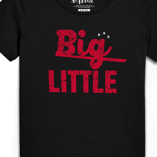 Big-Little(Black), Matching Bodysuit And Tee For Brother And Sister