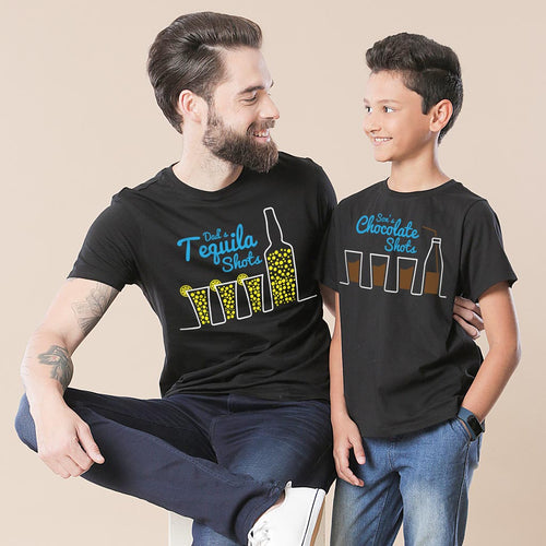Black Tequila Shots Dad And Son Tshirt