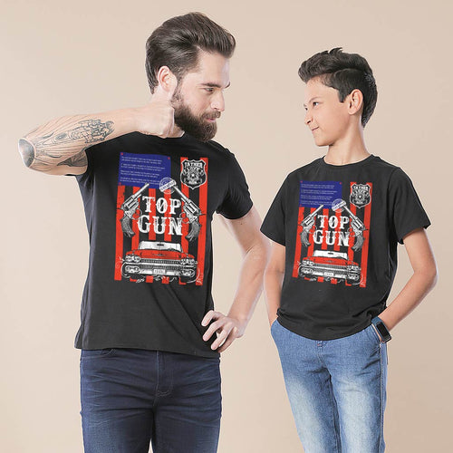 Black Top Gun Dad & Son Tshirt
