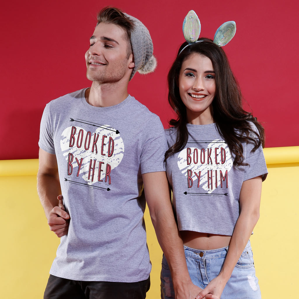 01f3f08cef Matching Tshirts for Couples - Booked By Him/Her Crop Top & Tee
