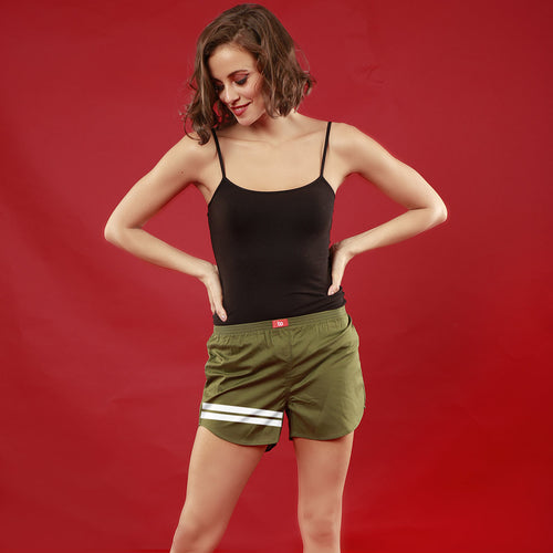 Bedroom Boss Similar Olive Green Couple Boxers For Women
