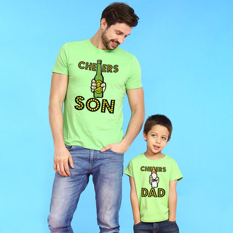 Bright Green Cheers Dad/ Son Father-Son Tees