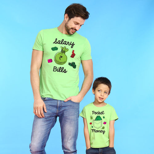 Bright Green Salary Pocket Money Dad & Son Tees