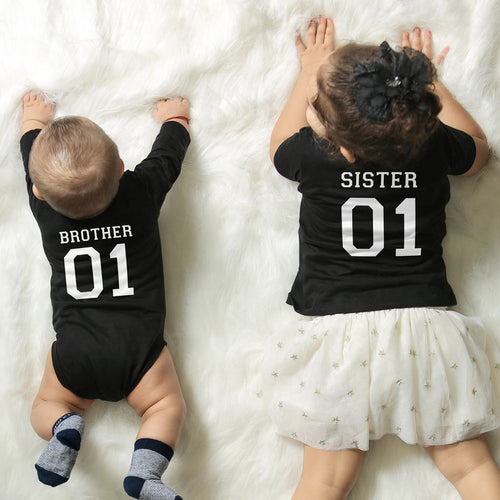 Brother/Sister, Matching Bodysuit And Tee For Brother And Sister