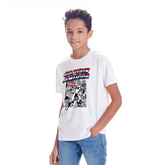 Captain America, Marvel White Tees For Boys