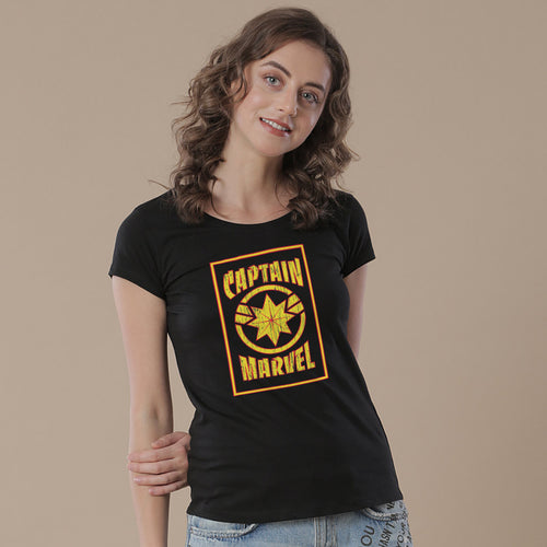 Captain Marvel Yellow And Black, Tees For Women