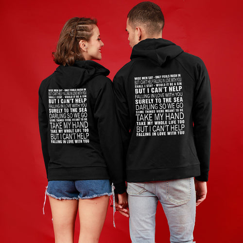 Can't Help Falling In Love, Matching Black Hoodies For Couples