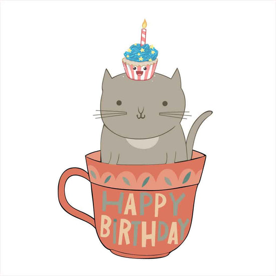Cat On Cup Birthday Family Tees