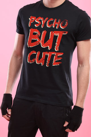 Psycho But Cute, Matching Tee And Cold Shoulder Dress For Him And Her.