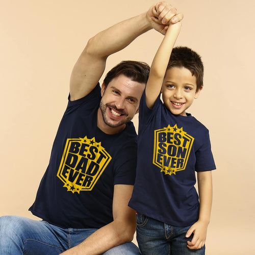 Navy Best Dad and Son Ever Matching Tshirts