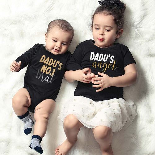 Dadu's Angel ,Matching Tee And Bodysuit For Sister And Brother