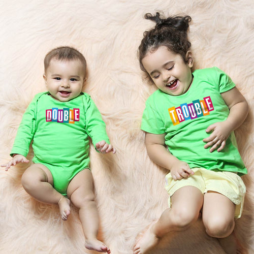 Double Trouble, Matching Bodysuit And Tee For Brother And Sister