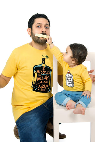 Drink And Nap More Matching Dad And Baby New Years Bodysuit and Tee