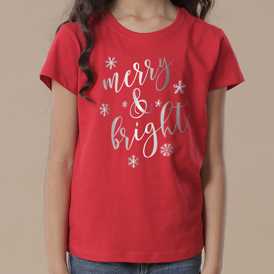 Festive Merry  and Bright, Mom And Daughter Tees