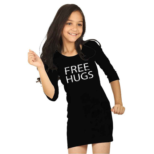 Free hug Black Knitted Short Dress For Mom Daughter For Daughter