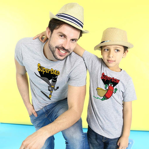 Grey Melange Super Dad And Son Tshirt