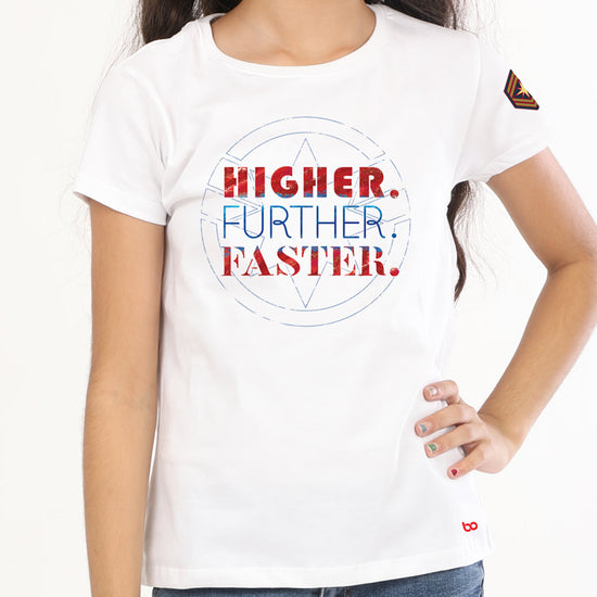 Higher Further Faster(White) Captain Marvel, Sisters Tees