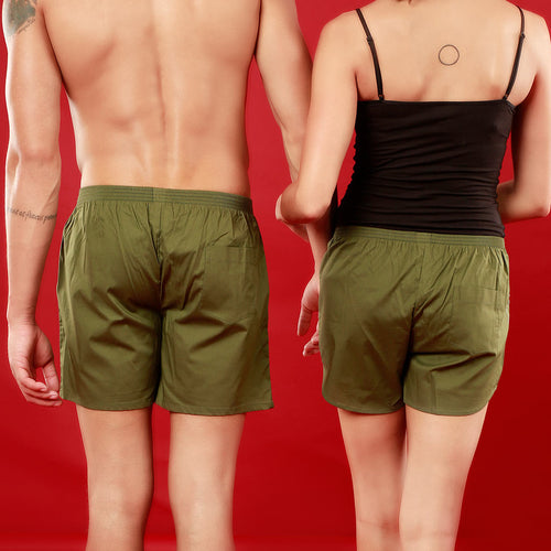 Her One/His Only, Matching Olive Green Couple Boxers