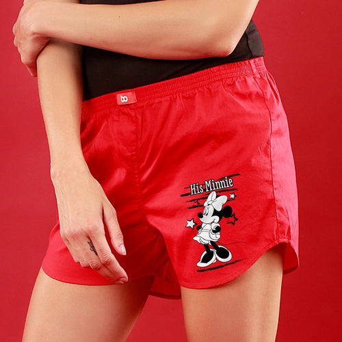 Her Mickey/His Minnie, Disney Red Couple Boxers