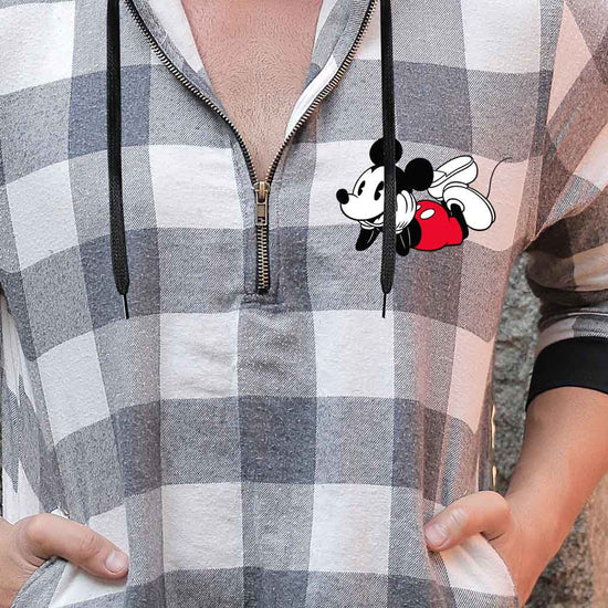 Micky Minnie Light Grey Check, Matching Disney Hoodie And Crop Hoodie For Couples