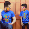 Holi Day , Matching Royal Blue Tees For Dad And Son