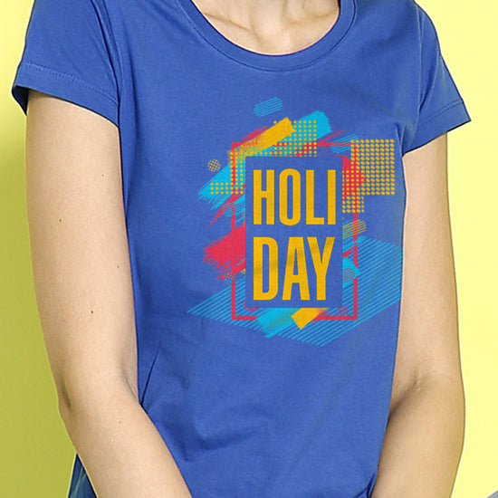 Holi Day , Matching Royal Blue Tees For Couples