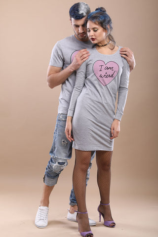 Love Is Wierd, Matching Tee And Cold Shoulder Dress For Him And Her