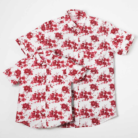 Floral Print Short Sleeve Shirt In White For Father-Son