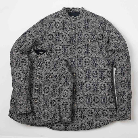 Paisley Print Mandarin Collar Shirt  In Navy Blue For Father-Son