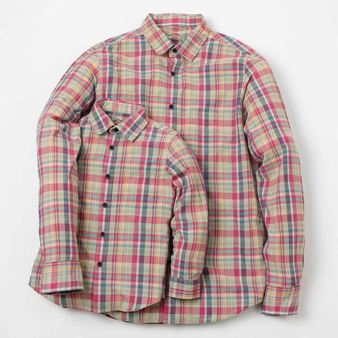 Pink Checked Shirt For Father-Son