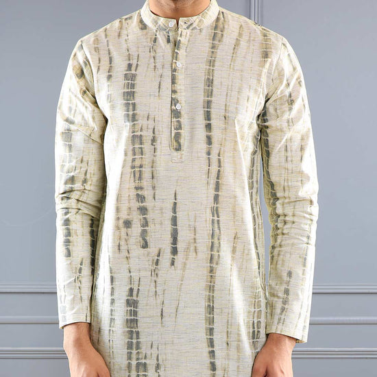 Pastel Olive Printed Matching Shirt Kurta Set For Father-Son