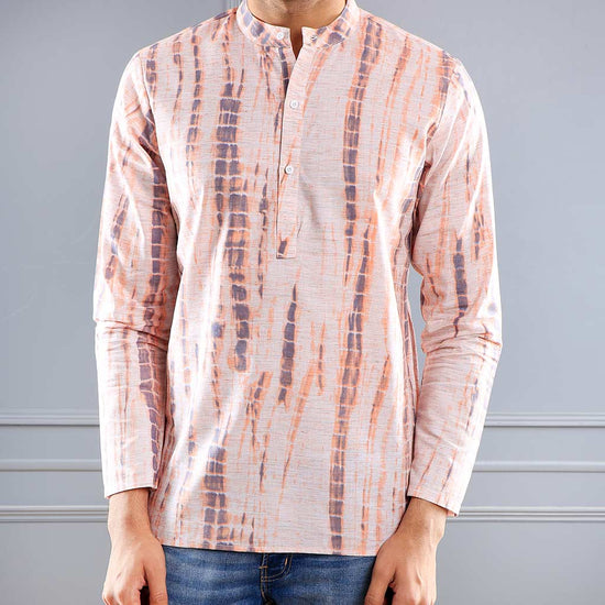 Peach Printed Matching Shirt Kurta Set For Father-Son