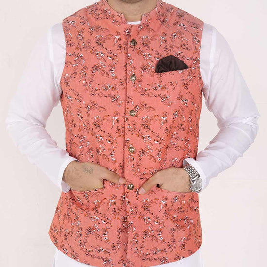 Floral Peach Bandi With Kurta & Pyjama Jacket For Dad And Son