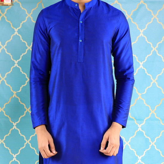 Royal Blue Kurta Pyjama Set For Father-Son