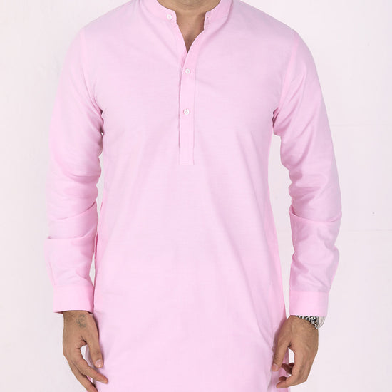 Light Pink Matching Kurta And Pyjams Set For Father And Son