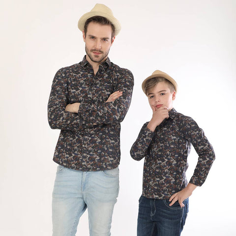 Army Print, Full Sleeves Matching Shirts For Father And Son