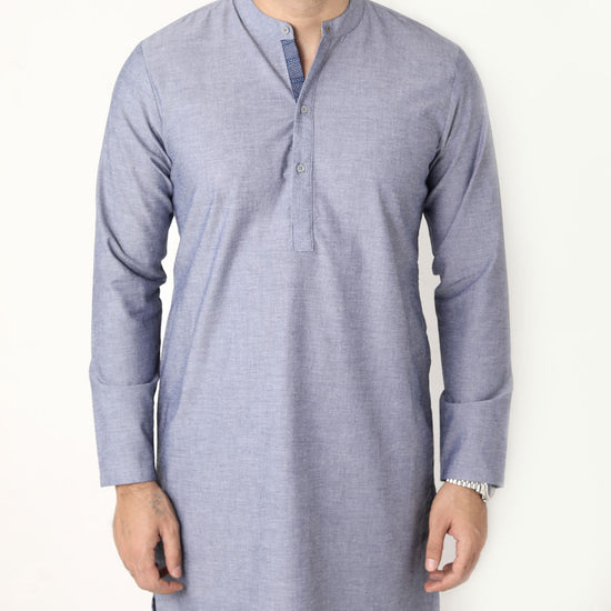 Light Navy Matching Kurta With White Pyjama Set For Father- Son