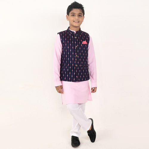 Navy Printed Bandi With Kurta & Pyjama Set For Son