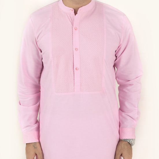Quilted Light Pink Matching Kurta & Pyjama Set For Dad And Son
