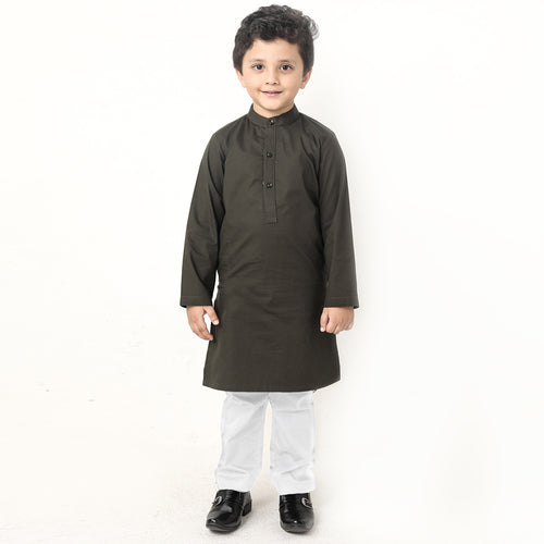 Military Green Matching Kurta & Pyjama Set For Son