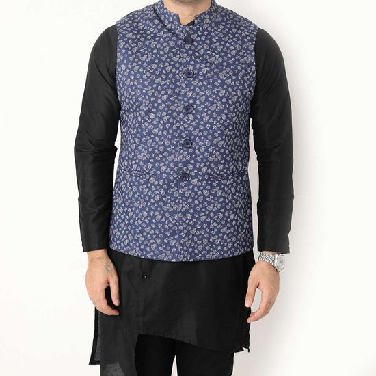 White And Dusty Blue Floral Print Bandi With Black Kurta & Pyjama Set For Dad And Son