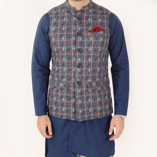 Navy Blue & Red Checks Bandi With Kurta & Pyjama Set For Dad And Son