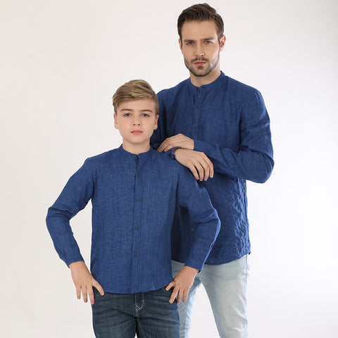 Quilted Blue Mandarin Collar Matching Shirts For Father And Son