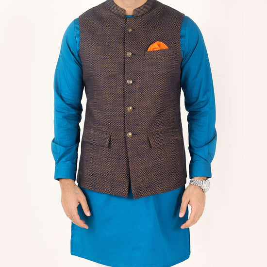 Textured Navy and Orange Bandi With Kurta & Pyjama Set for Father- Son