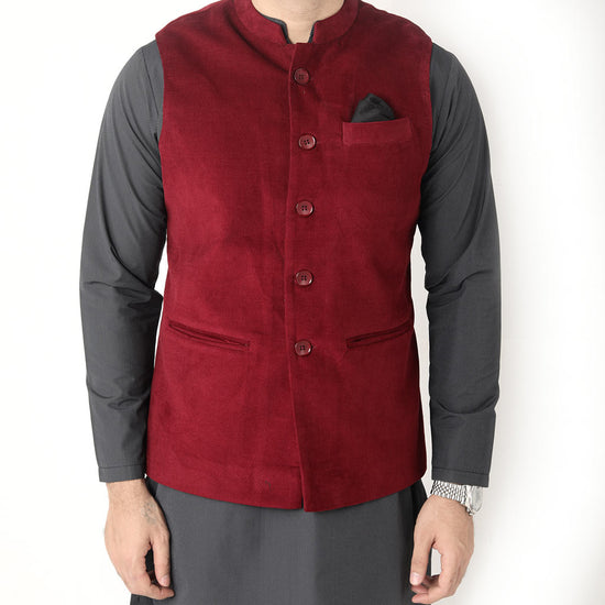Wine Red Corduroy Bandi With Kurta And Pyjama Set  For Father-son