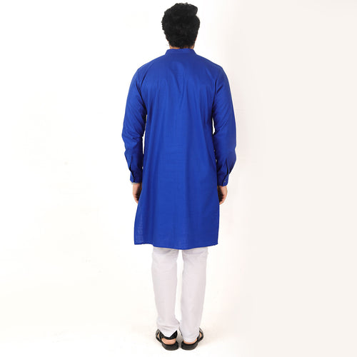 Royal Blue Quilted Matching Kurta & Pyjama Set For Dad And Son