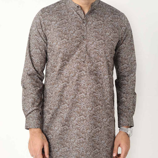 Brown Paisley Printed Matching Kurta With Pyjama Set For Dad And Son